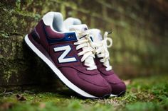 New Balance 574 Burgundy / Navy Ivory