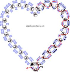 Beaded 3D Double Heart in Heart Charm