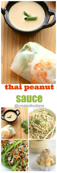 thai peanut sauce recipe for appetizers, spring rolls, pasta, lettuce wraps with chicken and over ice cream Peanut Sauce Recipe, Thai Peanut Sauce, Appetizer Recipes, Appetizers, Asian Recipes, Ethnic Recipes, Lime Recipes, Lettuce Wraps, Asian Cooking