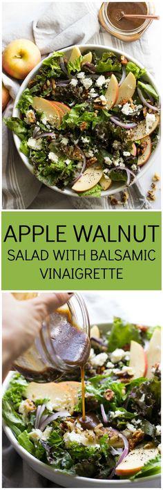 Apple Walnut Salad with Balsamic Vinaigrette - delicious autumn salad with pantry ingredients   littlebroken.com @Katya   Little Broken