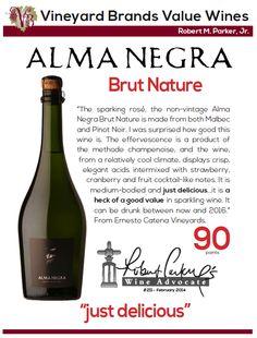 #AlmaNegra Brut Nature - Vineyard Brands Value Wine - 90 points - Robert Parker's Wine Advocate