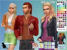 Rock me, Baby moto jacket recolors by Standardheld at SimsWorkshop via Sims 4 Updates