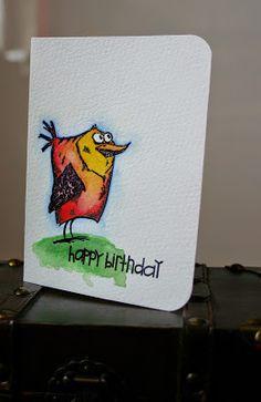 Ela est là: TH Crazy Birds; Paper Smooches sentiment; heat embossing; watercolors Crazy Bird, Crazy Dog, Crazy Cats, Crazy Animals, Dog Cards, Bird Cards, Happy Bird Day, Purple Cards, Tim Holtz Stamps