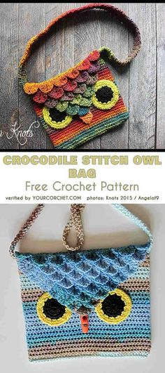 Crocodile Stitch Owl Bag Free Crochet Pattern For Kids Krokodilstich Crochet Handbags, Crochet Purses, Crochet Dolls, Crochet Bags, Crochet Owl Purse, Crochet For Kids, Free Crochet, Crochet Granny, Crochet Purse Patterns