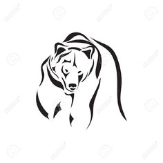 Illustration of Artistic vector tattoo sketch animal vector art, clipart and stock vectors. Tribal Bear Tattoo, Bear Paw Tattoos, Tattoo Animal, Simbolos Tattoo, Tattoo Outline, Tiny Tattoo, Tattoo Flash, Small Tattoos, Cool Tattoos