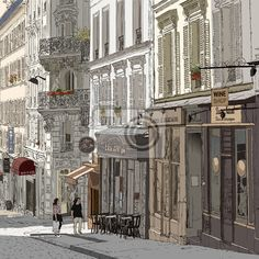 Choose a wall mural  , architecture, illustration - street in montmartre. PIXERS wall murals made ​​of great fabrics. Choose artistic photos from our catalog.