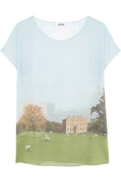 Moschino Cheap and Chic | Landscape-print silk top