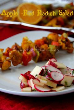 RADISHES-JUST NOT THE CAKES: Apple - Red Raddish Salad with Homemade Dressing.