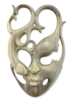 Wood mask - Gecko Girl | NOVICA