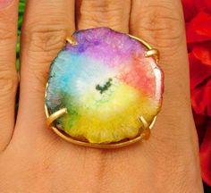 20 Carat. Gold Plated Multi Solar Druzy Handmade Adjustable Ring Jewelry NJC2383 #Handmade