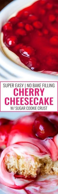 Easy cherry cheesecake recipe is the perfect summer dessert. Using a sugar cookie crust, a no bake cheesecake recipe and cherry pie filling it's a delicious summer treat.