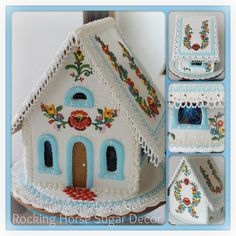 Folk art gingerbread house by Rocking Horse Sugar Decor posted on Cookie Connection - vibrant colors, Hungarian embroidery style, very fine piping. Piping on eves and base resemble delicate lace. Gorgeous!