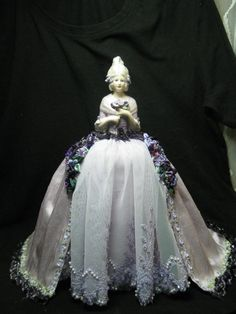 New for 2014 Porcelain Half Doll Pincushion Doll Dresser Doll Artist Doll by Kay Brooke Purple Lace, Deep Purple, Pattern Weights, Doll Makeup, Half Dolls, Swarovski Crystal Beads, Powder Puff, New Dolls, Diy Doll