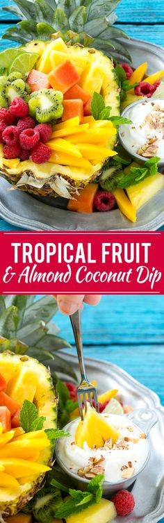 This recipe for tropical fruit salad is a colorful mixture of tropical fruit seasoned with lime juice and served with an ultra creamy coconut almond dip. Perfect for summer entertaining! #ad