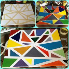 Super easy painting that turns out looking really cool!! All you need is the canvas, tape, and paint supplies.