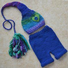 RTS KNiT Newborn Boy Girl BaBY Hat Long Pant Set by MadAboutColour, $68.00