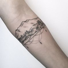 Decorative landscape tattoo by Maria Fernandez