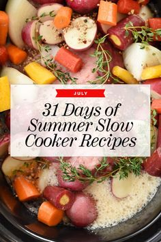 These 31 fast-to-pull-together slow cooker and crock pot recipe ideas for chicken, meat, seafood, and vegetables are the secret to easy summer cooking.