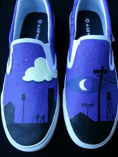 These spooky slip-ons were customized by Tumbler user Fond-ness with scenes from the infamous Welcome To Night Vale podcast painted onto them and highlighted with glow-in-the-dark paint. Glow Cloud, Glow Shoes, Night Vale, Dog Park, Painted Shoes, Night Skies, Welcome, Doodle Shoes, Good Night