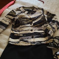 Well loved Chico's jacket Versatile jacket to wear with jeans/skirts! Chico's Jackets & Coats