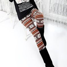 Women's Pearl Velvet Snow Deer Warm Fashion Not Inverted Velvet Leggings - USD $ 9.59