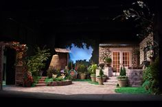"""Three nights before opening, and the set is done.No, really. Not sneaking back in to add more fiddly bits. Honestly. """"Humble Boy,"""" by Charlotte Jones, produced at Albany Civic Theater, Albany, Oregon, May 2009. Set design by Pat Kight; garden design assistance by Kris Watts. Tech notes: ACT has a 25x32' proscenium stage with zero fly space and a solid brick wall stage left. Like most community theaters, we work with volunteer helpers and a rock-bottom budget. I haven't checked the final…"""