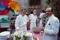 Chef Bradley Ogden, Lark Creek Inn, and restaurateur Alan Stillman, Smith & Wollensky, City Meals on Wheels James Beard Birthday Dinner, Rockefeller Center, June 1991.  Photograph copyright 1991 by Gerry Dawes