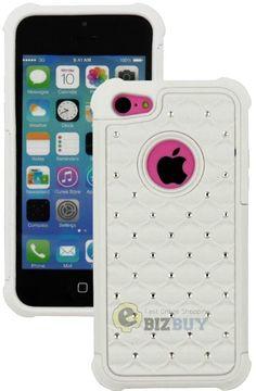 Amazon.com: myLife (TM) Snow White Rugged Diamond Style 3 Layer (Hybrid Flex Gel) Grip Case for New Apple iPhone 5C Touch Phone (External 2 ...