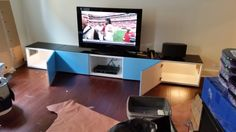 "#ikeahack We bought two 23 5/8x15 3/4x15 "" Besta cabinets and cut an entry in each. One on each end of the Besta TV unit. Added doors. They fit the IRIS Open Top Litter Box with Shield and Scoop litter boxes perfectly."