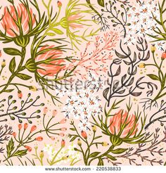 vector floral seamless pattern with exotic blooms - stock vector