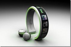A wireless mp3 player bracelet. Love this idea - so much easier than strapping on an iPod to go running.