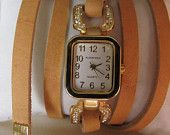 Delicate Women Wrist Watch - Double Vintage Leather Band - Fashion Bracelet.