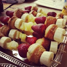 Fruit & Mini Muffin Skewers - SOOO Making these for this Sunday's Brunch!
