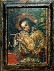 "Retablo ""San Juan Nepomuceno""  Colonial venezolano. Siglo XVIII. O/tela pegado a tabla. Med: 31 x 25 cms."