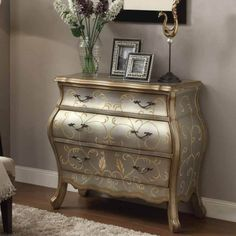 Vanas-Elegant-Hallway-Console-Sofa-Table-Bombay-Chest-3-Storage-Drawers-Silver