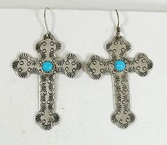 Navajo sterling silver Cross Wire earrings with Turquoise