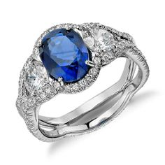 Sapphire and Diamond Pavé Split-Shank Twist Ring in Platinum. #BlueNile #Sparkle #Hollywood #Oscars #GoldenGlobes #Diamonds #FineJewelry #Jewelry #Fashion #Sapphire
