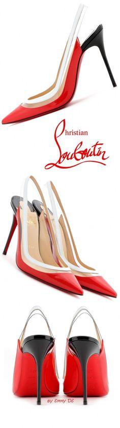 Christian Louboutin ~ 'Paulina' Red + White Slingback Pumps 2015