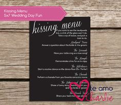 The Kissing Menu Wedding Game  Wedding Printable by TeAmoCharlie, $5.00