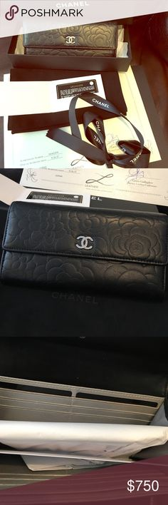 Chanel camellia embossed lambskin wallet Authentic and in like new condition! Used but sent to leather surgeons for repair. Edges have been sealed down to prevent damage. Has been fully cleaned & ready for its next owner! Gorgeous soft lamb skin leather w/ camellia embossing. Logo has some scratches from use. 2 cash/check pockets, 1 zipped compartment & 12 card slots. Comes complete w/ dustbag, wallet, ribbon & certificate of authenticity from the leather surgeons. Not selling dustbag & box…