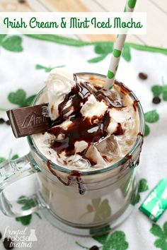 Chocolate, mint, Irish cream, & coffee- you simply cannot go wrong with this Irish Cream & Mint Iced Mocha for St. Patrick's Day (or any day!).