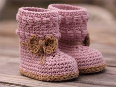 Crochet pattern girls booties Baby Bootie Crochet di Inventorium
