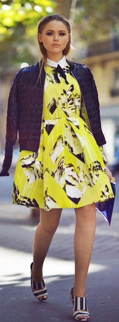Kenzo Yellow Multi Abstract Print Little Dress by Kayture