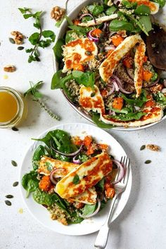 Halloumi salad with lightly spiced, roasted butternut squash & quinoa. Served with a lemon and honey dressing, this is a lovely satisfying lunch. Veggie Recipes, Salad Recipes, Vegetarian Recipes, Cooking Recipes, Healthy Recipes, Healthy Salads, Healthy Eating, Halloumi Salad, Vegan Dishes