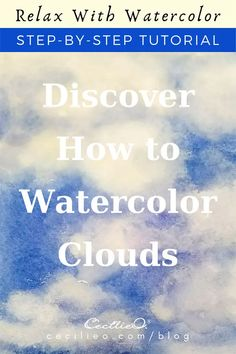 Watercolor Clouds, Watercolor Tips, Watercolour Tutorials, Watercolor Landscape, Drawing Tutorials, Watercolour Painting, Art Tutorials, Watercolor Flowers, Painting Clouds