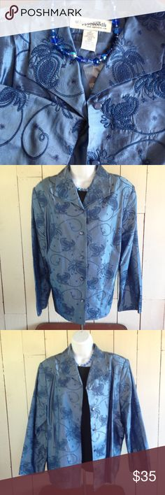 """Sooo Pretty Silk Embroidered Jacket NWOT This silk jacket I'd the most gorgeous shade of blue. Fully lined in satiny polyester This will add special loveliness to whatever you pair it with. Bust - 23"""". Length - 25"""". Sleeve- 22.5"""".  Dry clean. appleseed's Jackets & Coats Blazers"""