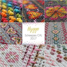 Cross stitch on finished crochet. I would like to try this on a knitted scarf. Or knit a large square and cross stitch on it and hang on a wall. Hygge CAL