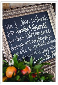 Sweet message written to family and friends on a chalkboard