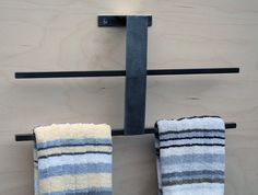 Towel Bar / Rack for Kitchen or Bath Minimal, Modern, Stainless Steel / Blackened Mild Steel ,Sleek Style, Double sided, holds four towels by studioandolina on Etsy