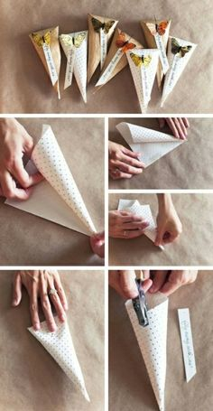 Diy paper cone bag. Use scrapbook paper